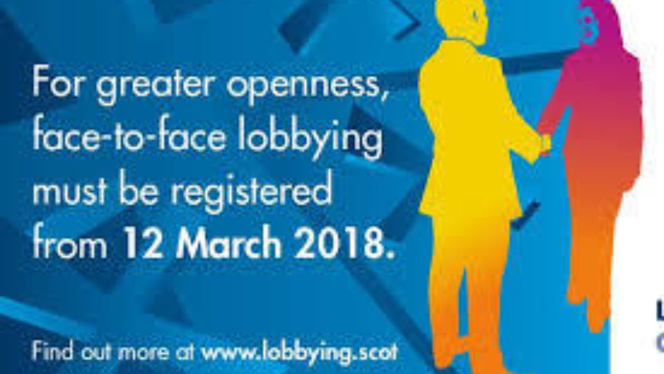 Lobbying (Scotland) Act 2016 comes into force Monday 12 March