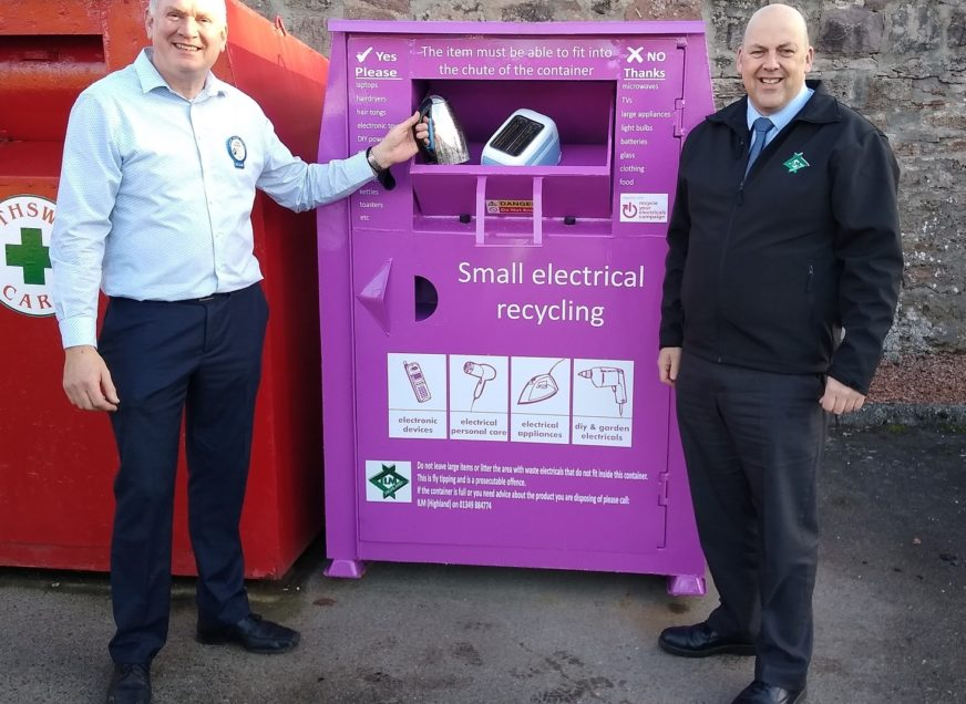 Highland residents can help the environment and vulnerable members of their local community by donating their old small electricals