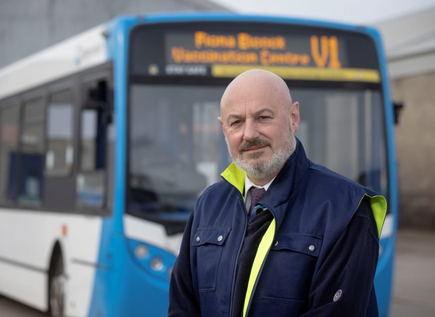 Stagecoach - Employee tribute to former colleague by receiving his COVID 19 vaccination