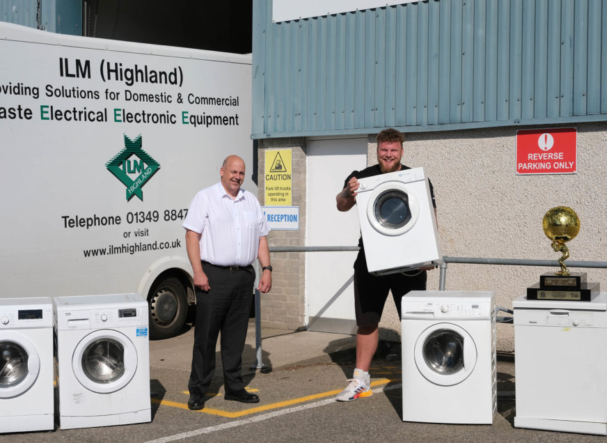 ILM Highland   World's Strongest Man helps ILM Highland celebrate 2,054 tonnes of electrical recycling in last 12 months